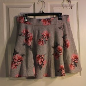 Grey Skirt with Pink Flowers